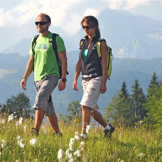 Couple hiking in a meadow