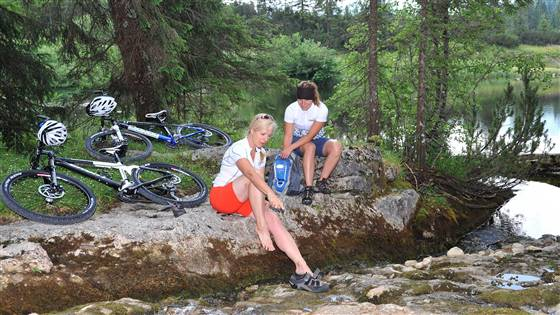 Women take a break on a bike tour