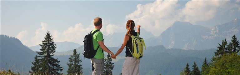 Couple hiking with rucksack